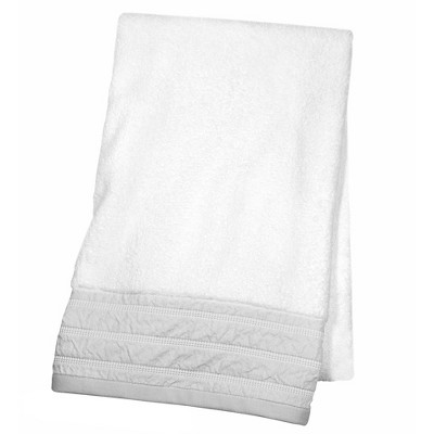 Decorative Luxury Bath Towel Gray Border - Fieldcrest™