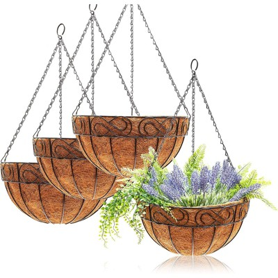 """Juvale 4 Pack Hanging Planters Basket with Coco Coir Liner, Flower Pots for Garden Wedding Home Décor, 13 x 7 x 7"""""""