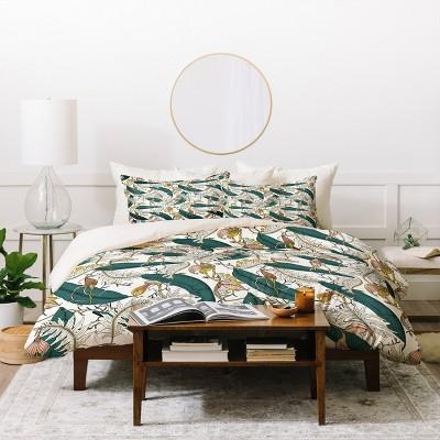 Full/Queen Floral Holli Zollinger Orchid Garden Amora Duvet Cover Set Green - Deny Designs
