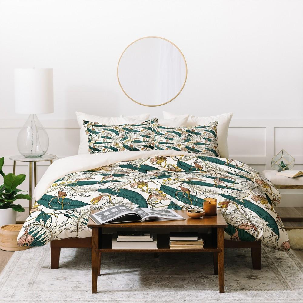 Full/Queen Floral Holli Zollinger Orchid Garden Amora Duvet Cover Set Green - Deny Designs, Green Brown