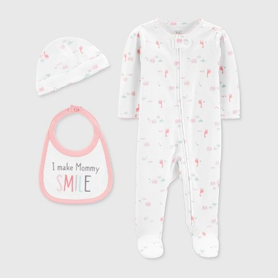 Baby Girls' 3pc Footed Sleeper - Just One You® made by carter's White 3M