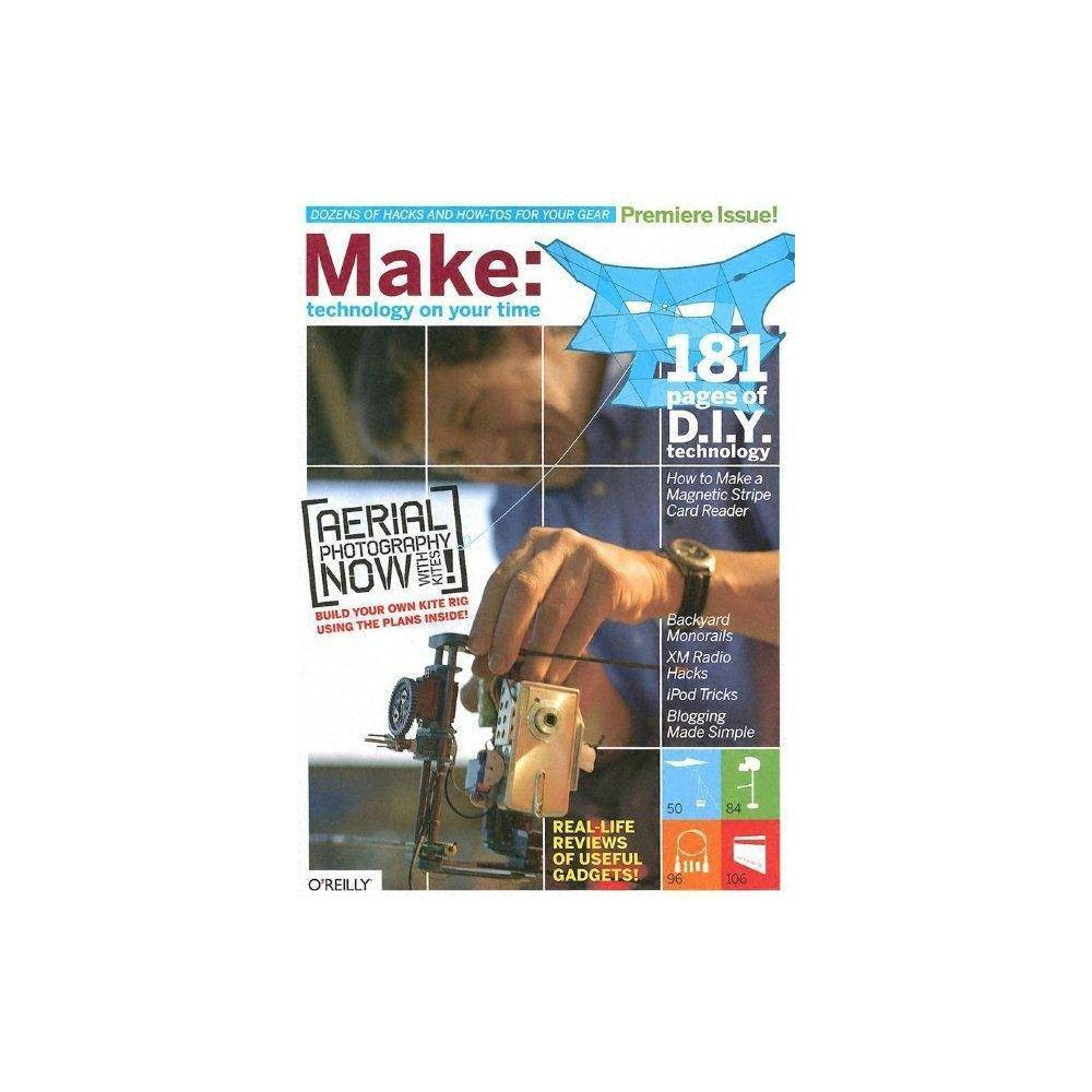 Make - (Make: Technology on Your Time) by Mark Frauenfelder (Paperback) If you like to tweak, disassemble, re-create, and invent cool new uses for technology, you'll love Make our new quarterly publication for the inquisitive do-it-yourselfer. Every issue is packed with projects to help you make the most of all the technology in your life. Everything from home entertainment systems, to laptops, to a host of PDAs is fair game. If there's a way to hack it, tweak it, bend it, or remix it, you will find out about it in Make. This isn't another gadget magazine. Make focuses on cool things you can do to make technology work the way you want it to. The publication is inspired by our bestselling Hacks series books but with a twist. Make is a mook (rhymes with book). We ve combined the excitement, unexpectedness, and visual appeal of a magazine with the permanence and in-depth instructiveness of a how-to book. Whether you're a geek or hacker who delights in creating new uses for technology, or a Saturday afternoon tinkerer who loves to get his hands dirty, you'll keep every issue of Make on your bookshelf for years to come. Our premier issue, available in February 2005, includes 220 pages packed with tips and tricks, including: how to create a $14 stabilizer for your video camera with readily available household items how to use an ordinary kite to take extraordinary professional quality aerial digital photos how to get rid of that tangle of wires by creating your own 5-in-1 network cable how to decipher the magnetic stripe on your credit card to find out what your credit card company really knows about you and lots more! Every quarter, Make will contain a unique set of innovative ideas and creations for a variety of new technologies, including mobile devices, in-car computers, web services, digital media, wireless and home networking, and computer hardware.