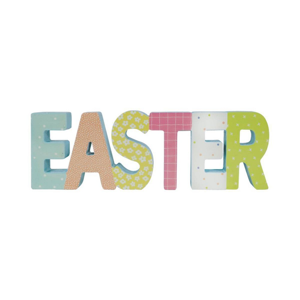 Image of Free Standing Easter Wood Sign With Block Letters - Spritz