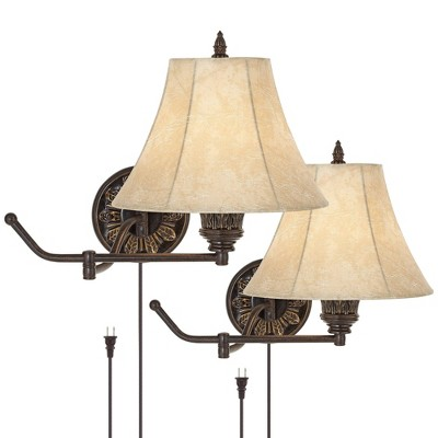Barnes and Ivy Swing Arm Wall Lamps Set of 2 French Bronze Plug-In Light Fixture Faux Leather Shade Bedroom Living Room Reading