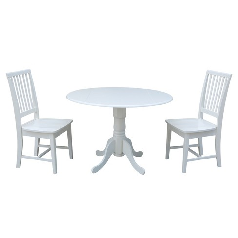 42 Dual Drop Leaf Dining Table With Two Mission Chairs White 3pc