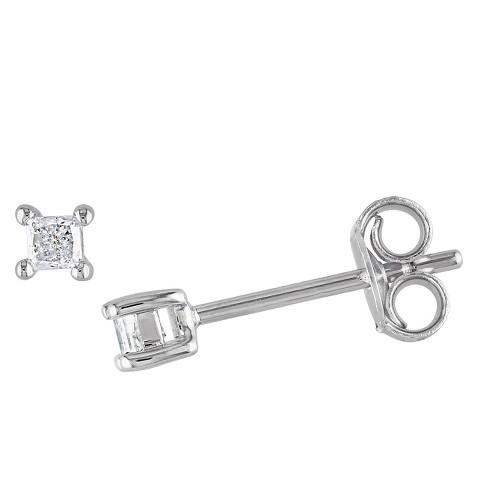 T W Princess Cut Diamond Stud Earrings In Sterling Silver White