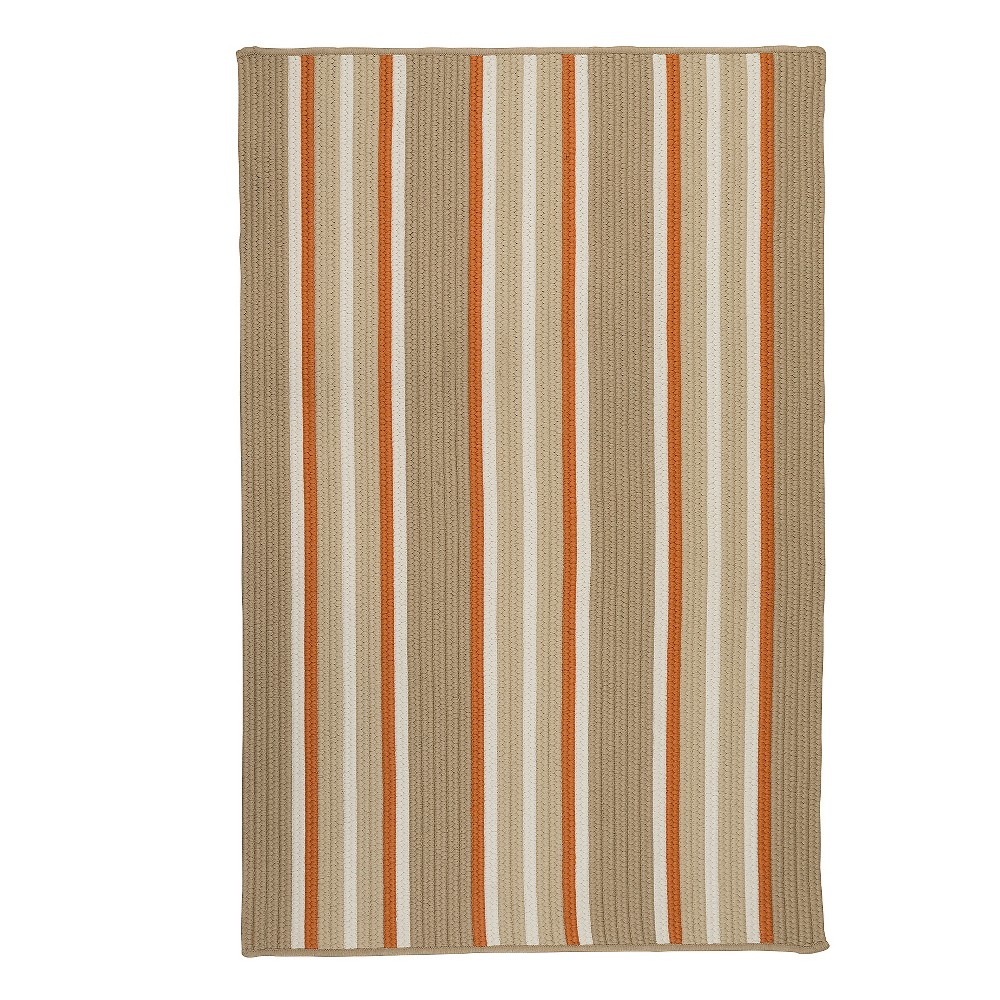 9'X12' Thin Stripe Braided Area Rug Sand (Brown) - Colonial Mills