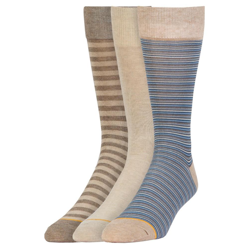 Signature Gold by Goldtoe Men's 3pk Stripe Crew Socks - Gray 6-12, Multi-Colored