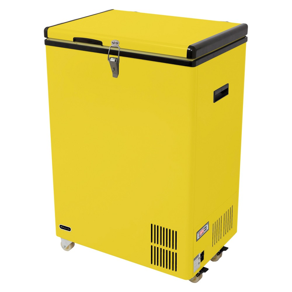 Whynter 95 Quart Portable Refrigerator Limited Edition - Yellow FM-951YW Featuring a space-saving upright design that fits almost anywhere, the Whynter FM-951YW 95 Quart Portable Fridge / Freezer is a cost-effective and mobile solution for your merchandizing and critical freezing requirements. . Additionally, the 12V or 110V power supply option allows for a wide range of applications from home to in-vehicle use. Color: Yellow.