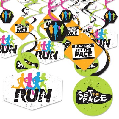 Big Dot of Happiness Set the Pace - Running - Track, Cross Country or Marathon Party Hanging Decor - Party Decoration Swirls - Set of 40