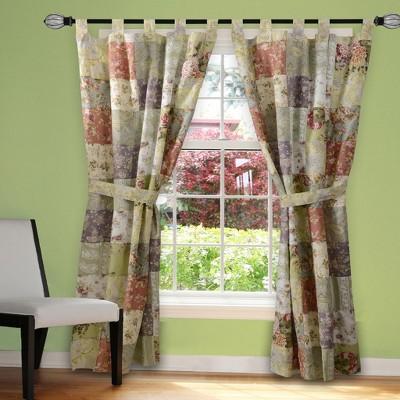 "Greenland Home Fashion Blooming Prairie Window Panel Pair-Patchwork - 42x84"""