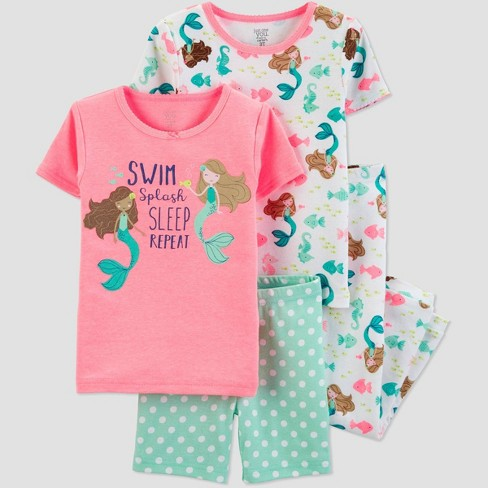 083901c0fd Baby Girls  4pc Pink Mermaid Cotton Pajama Set - Just One You® Made ...