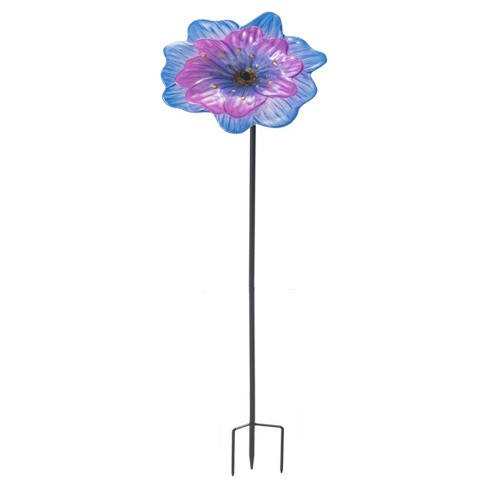 "12"" x 12"" x 48"" Iron Flower Garden Stake - Black - Sunjoy - image 1 of 4"