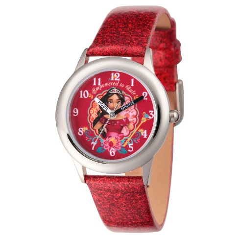 Girls' Disney Elena of Avalor Stainless Steel Time Teacher Watch - Red - image 1 of 1