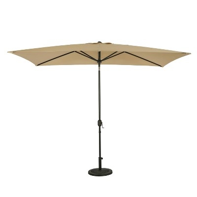 10' x 6.5' Rectangular Bimini Market Patio Umbrella Champagne - Island Umbrella