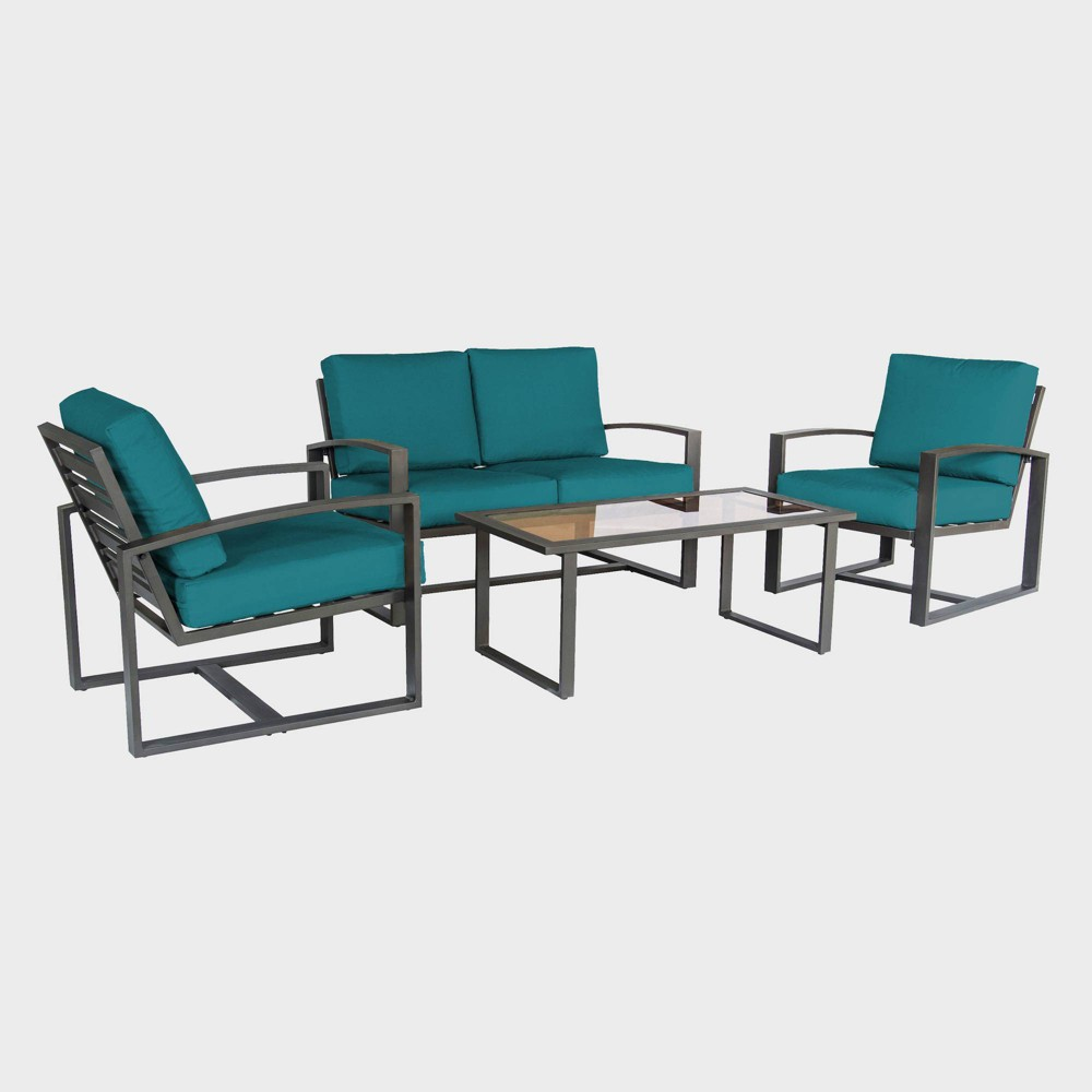 Image of 4pc Jasper Aluminum Chat Set Teal - Leisure Made