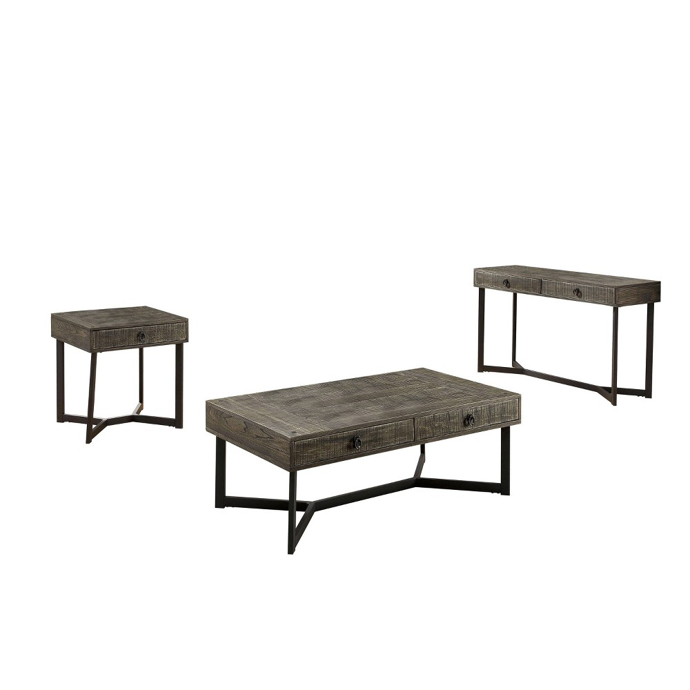 Compare 3pc Craddock Coffee Table Set Dark Oak - miBasics