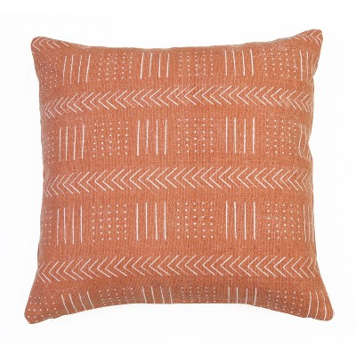 "20""x20"" Mindy Mudcloth Printed Woven Pillow Burnt Orange - Décor Therapy"