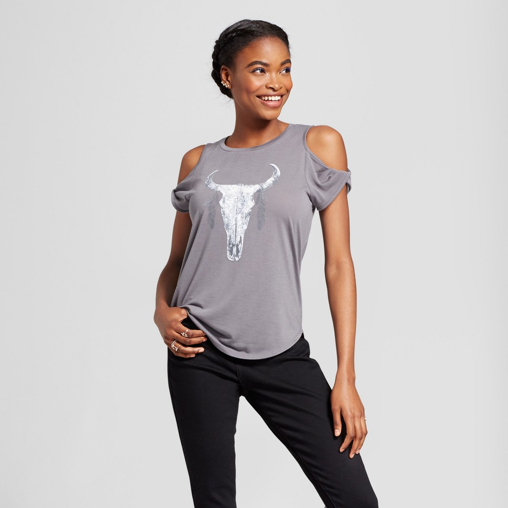 Women's Longhorn Skull Cold Shoulder Graphic T-Shirt - Grayson Threads (Juniors') Charcoal S, Gray