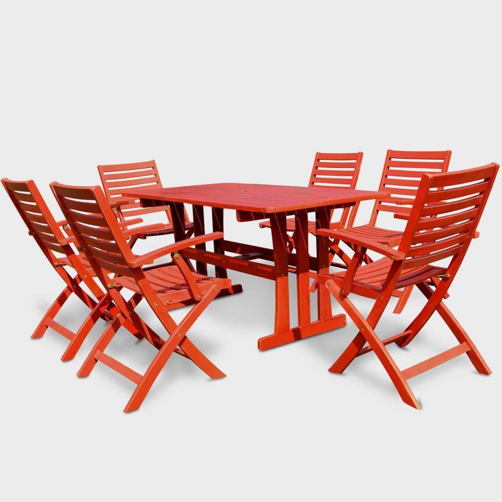 7pc Sciacca Acacia Wood Patio Dining Set - Red - International Caravan