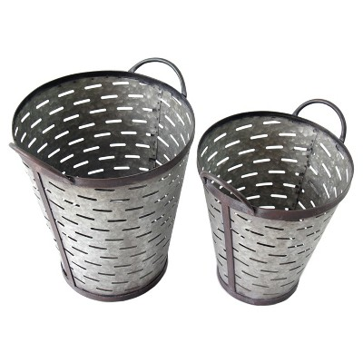 Metal Olive Bucket Set Gray 2pk - VIP Home & Garden