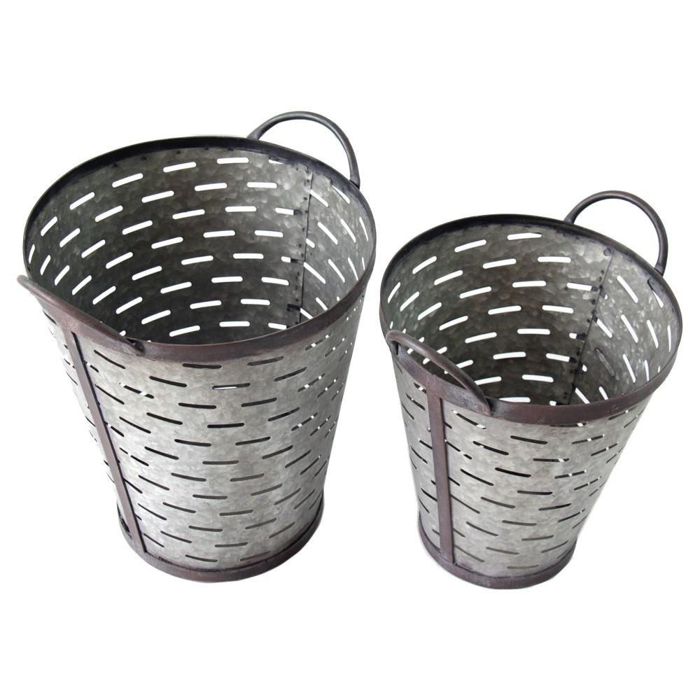 Metal Olive Bucket Set Gray 2pk - Vip Home & Garden