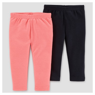 Baby Girls' 2pk Pants - Just One You™ Made by Carter's® Pink/Black 6M