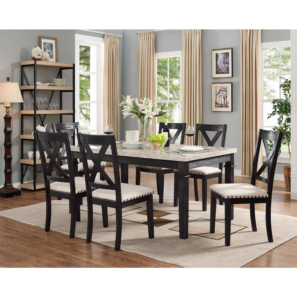 7pc Bradley Dining Set Table & 6 X Back Side Chairs Dark Walnut - Picket House Furnishings