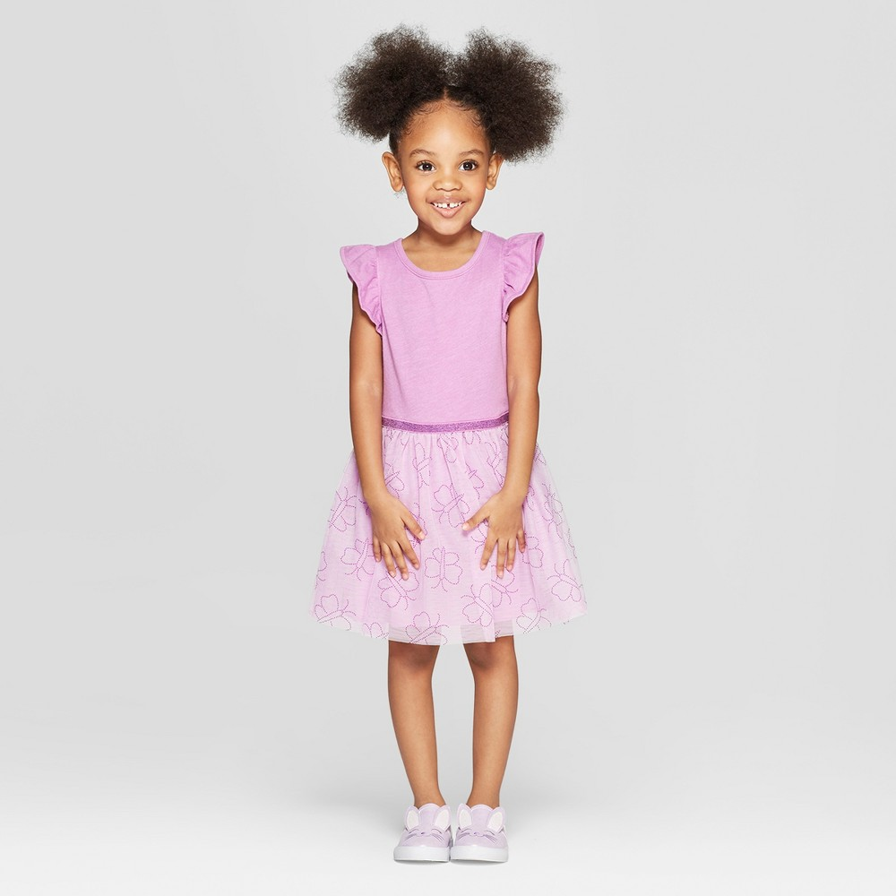 Toddler Girls' Tulle Ruffle Sleeve A-Line Dresses - Cat & Jack Purple 4T