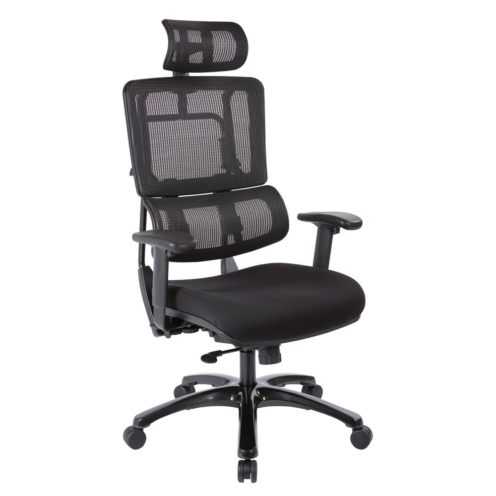 Vertical Mesh Back Chair With Shiny Base And Coal Free Flex Fabric With Headrest Black - Osp Home Furnishings