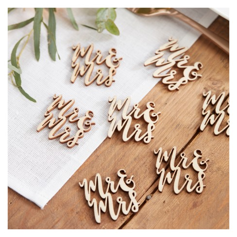 """Mr. And Mrs"" Wooden Table Confetti - image 1 of 3"