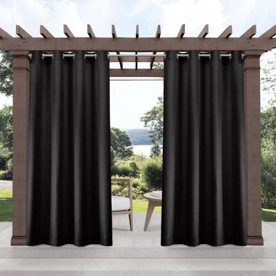Set of 2 Indoor/Outdoor Solid Cabana Grommet Top Curtain Panels Black - Exclusive Home