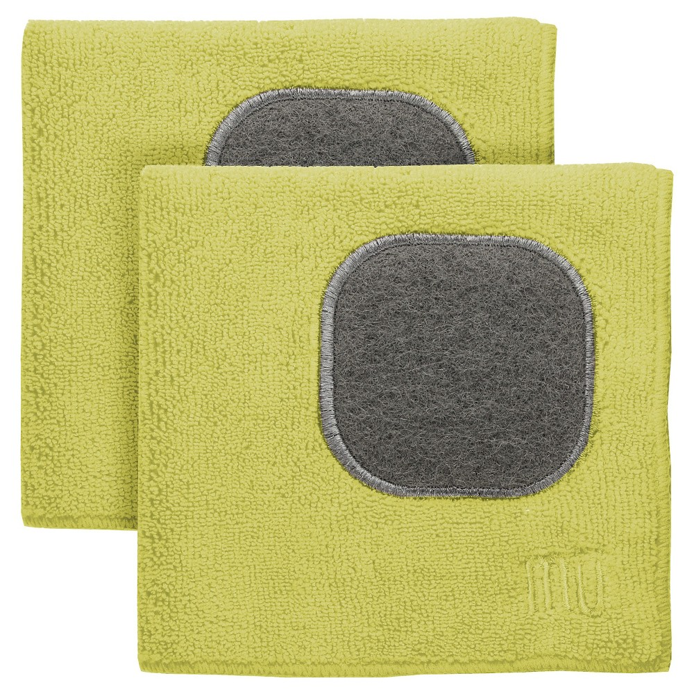 "Image of ""12""""X12"""" 2pk Microfiber Dish Cloth With Scrubber Green - Mu Kitchen"""