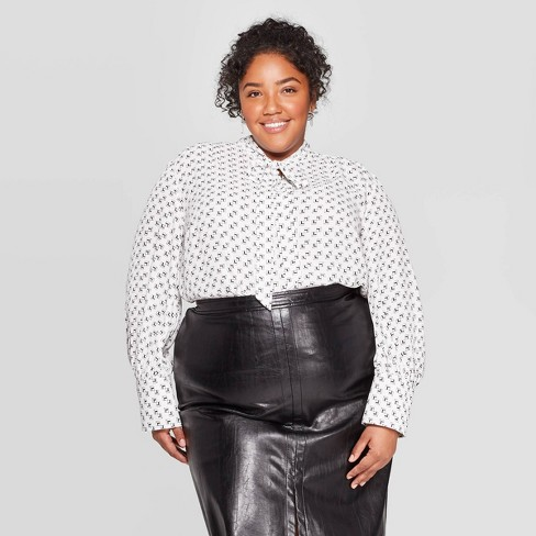 Women's Plus Size Long Sleeve Collared Tie-Neck Blouse - Ava & Viv™ Ivory - image 1 of 2
