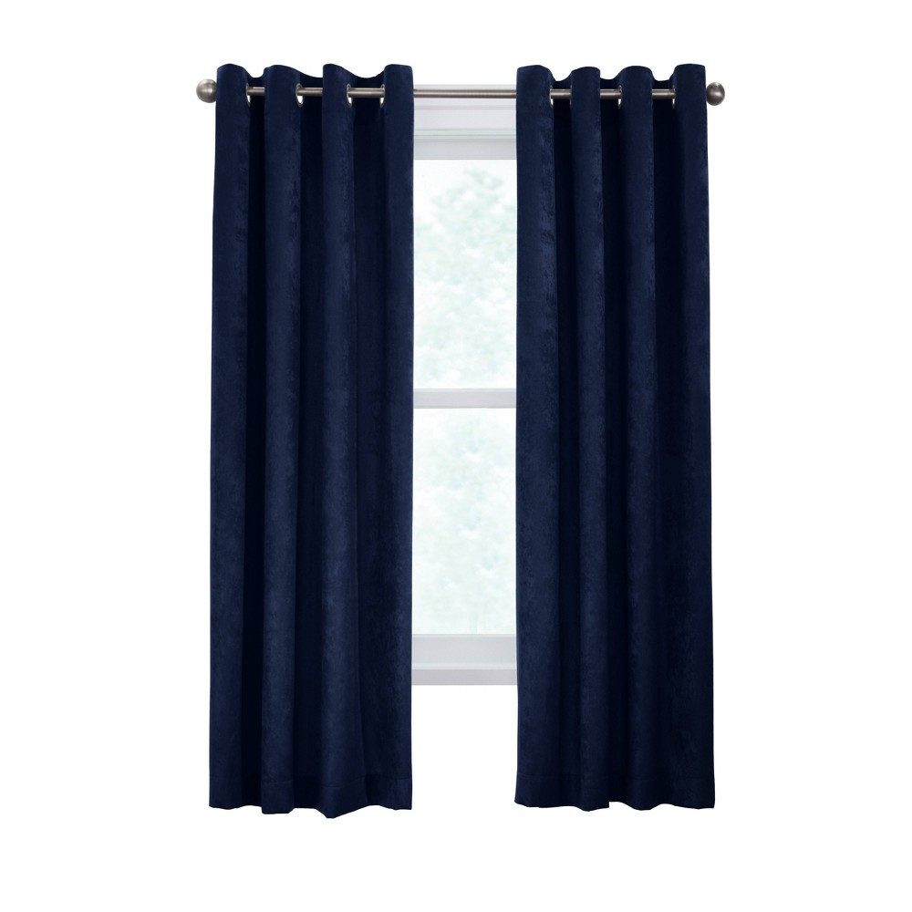 "84""x52"" Falkland Grommet Top Light Filtering Curtain Panel Blue - Habitat"