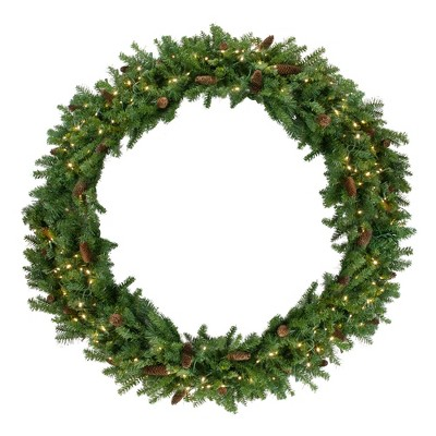 Northlight Pre-Lit Dakota Red Pine Commercial Artificial Christmas Wreath - 60-Inch, Warm White LED Lights