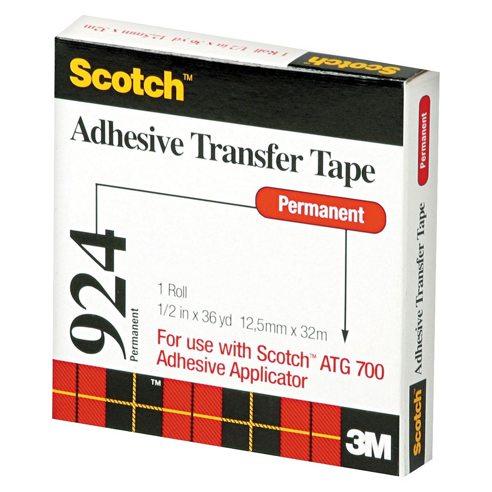 Scotch 1/2 Wide Adhesive Transfer Tape Roll - 36 yds, Clr