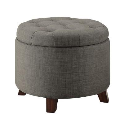 Tufted Round Storage Ottoman - Taupe - Threshold™
