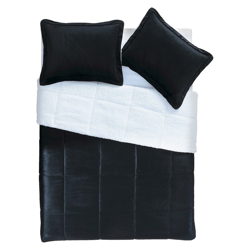 Image of Black Micro Mink Sherpa Reversible Comforter Set 3 Piece (King) - VCNY