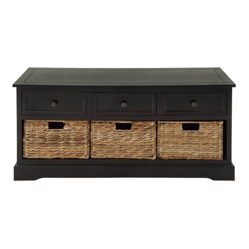 Farmhouse Wooden Chest with Wicker Basket Drawers Dark Brown - Olivia & May - image 1 of 4