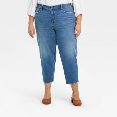 Women's Plus Size Cropped Straight Leg Jeans - Ava & Viv™ Medium Wash