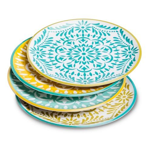 Boho Boutique Melamine Dinner Plates 10 5 Marika Blue Gold 4pc Target