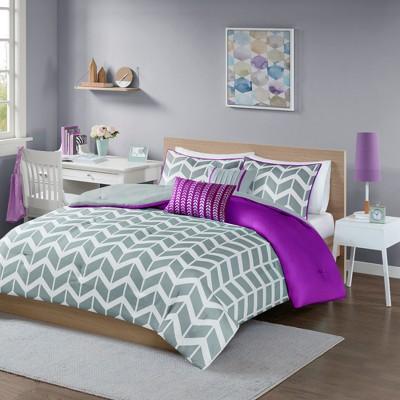 Purple Darcy Comforter Set Chevron Full/Queen 5pc