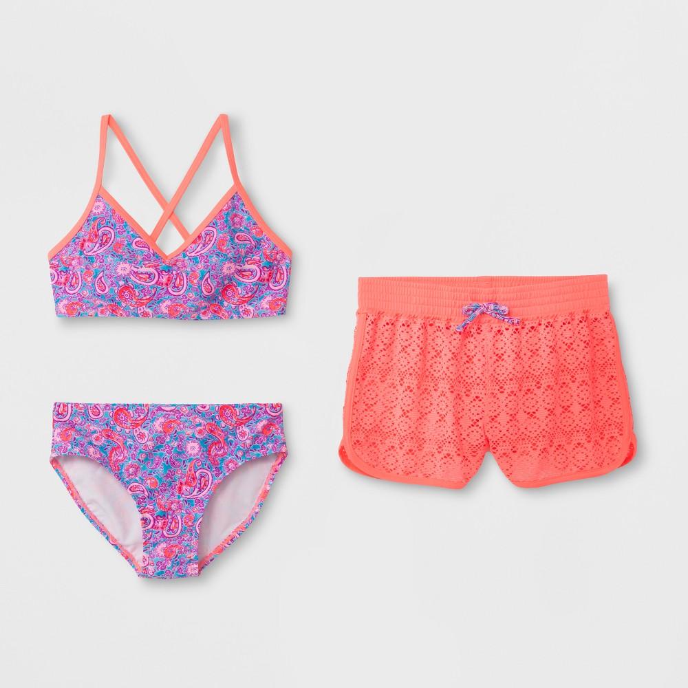 Girls' Paisley Cool Bikini Set with Skirt - art class Pink XS