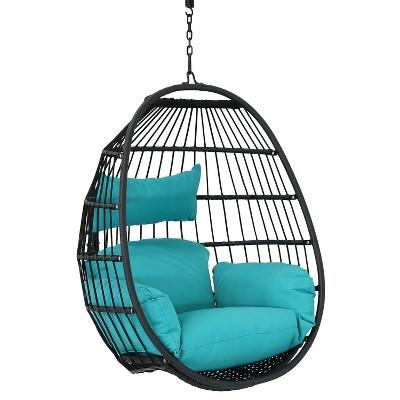 Dalia Hanging Egg Chair - Teal - Sunnydaze Decor