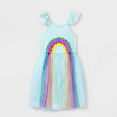 Girls' Rainbow Short Sleeve Tulle Dress - Cat & Jack™ Aqua