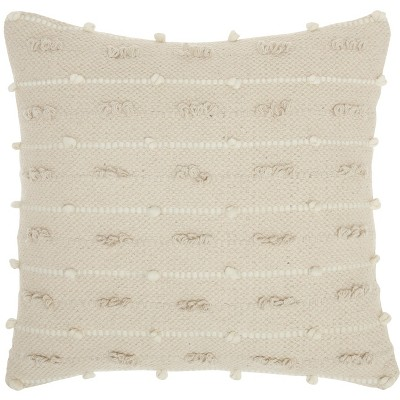 "Mina Victory Life Styles Loop Stripes Natural Throw Pillow - Off-White 18""X18"""