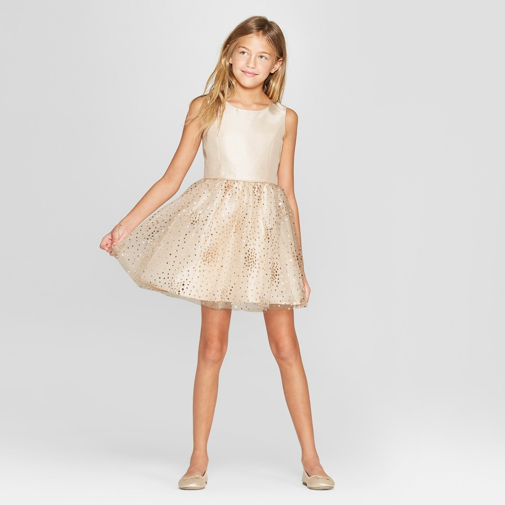Girls' Chunky Gold Glitter Dress - Cat & Jack Champagne S, Beige