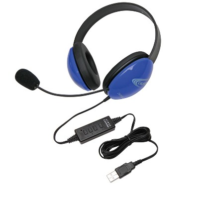 Califone Listening First 2800BL-USB Over-Ear Stereo Headset with Gooseneck Microphone, USB Plug, Blue, Each