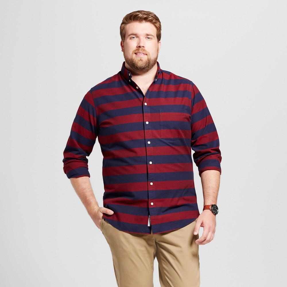 Men's Big & Tall Standard Fit Whittier Oxford Button-Down Shirt - Goodfellow & Co Burgundy Stripe 5XB